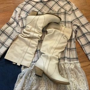 Shoes - Cream Genuine Leather Slouch Style Western Boots